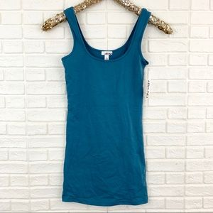 Abound double scoop tunic tank solid blue stretch